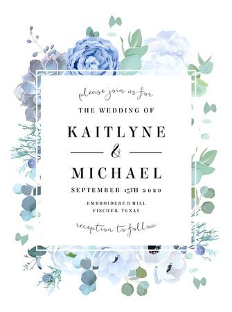 Rosa azul polvorienta, echeveria suculenta, hortensia blanca, ranúnculo, anémona, eucalipto, enebro, marco de diseño de vector de brunia. Tarjeta de flores de temporada de boda. Composición cuadrada floral. Aislado y editable