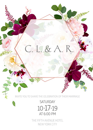 Luxury fall flowers vector design card Illustration