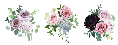 Dusty pink and mauve antique rose, pale flowers vector design wedding bouquets. Eucalyptus, dark burgundy dahlia, succulent, greenery. Floral pastel style border.All elements are isolated and editable Ilustracja