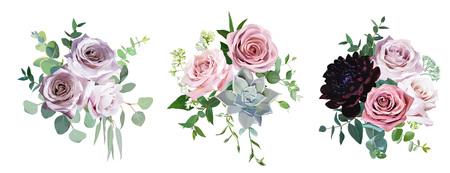 Rosa antico e malva rosa polveroso, fiori pallidi design vettoriali bouquet da sposa. Eucalipto, dalia bordeaux scuro, succulento, verde. Bordo floreale in stile pastello. Tutti gli elementi sono isolati e modificabili Vettoriali