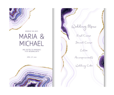 Amethyst crystal geode purple vertical vector card.Stylish ultraviolet texture frame.Gold border.Sparkling gems.Natural stone.Trendy wedding invitation.All elements are isolated and editable.