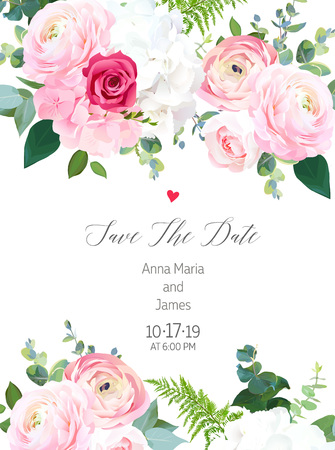 Floral vector design vertical frame. Pink ranunculus, red rose, white hydrangea flowers, eucalyptus, forest fern, greenery. Wedding elegant card. All elements are isolated and editable Ilustração Vetorial