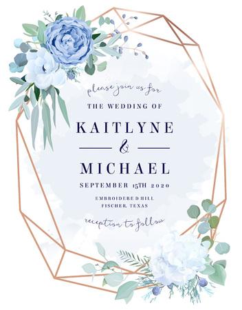 Rosa azul polvorienta, hortensia blanca, anémona, eucalipto, marco de diseño de vector de enebro.
