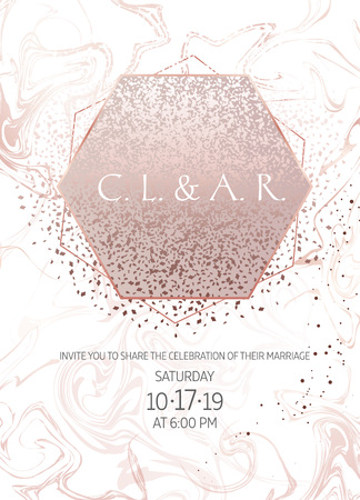 Elegant pink gold glitter and marble vector design card