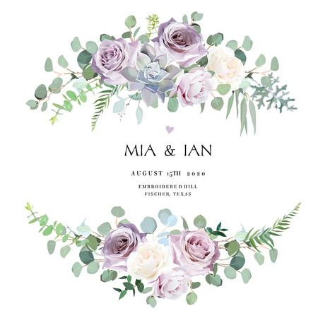 Staubiger violetter Lavendel, cremige und malvenfarbene antike Rose, lila blasse Blumen, saftige Vektordesign-Hochzeitssträuße. Eukalyptus, Grün. Blumenpastellgrenze. Alle Elemente sind isoliert und bearbeitbar