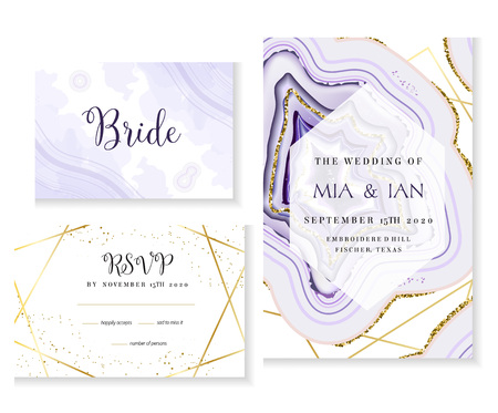 Amethyst crystal geode purple wedding vector cards. Stylish ultraviolet texture frames. Gold line art. Sparkling gems. Natural stone. Trendy glitter invitation. All elements are isolated and editable. Stock Illustratie