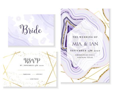 Tarjetas de vector de boda púrpura geoda de cristal amatista. Marcos de textura ultravioleta con estilo. Arte de línea dorada. Gemas brillantes. Piedra natural. Invitación de brillo de moda. Todos los elementos están aislados y se pueden editar.