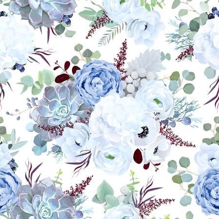Seamless vector design pattern from dusty blue garden rose, white anemone, echeveria succulent, ranunculus, hydrangea, brunia, eucalyptus greenery, burgundy red astilbe Beautiful floral print.Editable Vector Illustration