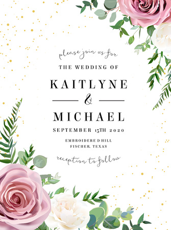 Dusty pink, creamy white antique rose, pale flowers vector design wedding frame. Eucalyptus, spring greenery. Gold glitter.Floral pastel watercolor style border. All elements are isolated and editable