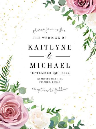 Rose poussiéreux, rose antique blanc crème, fleurs pâles vector design cadre de mariage. Eucalyptus, verdure printanière. Paillettes d'or. Bordure de style aquarelle pastel floral. Tous les éléments sont isolés et modifiables