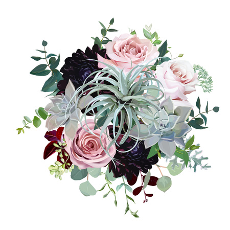 Dark burgundy dahlia, tillandsia succulent, pale roses, eucalyptus, greenery