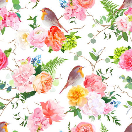 Vector seamless watercolor pattern with cute robin birds and bouquets of peachy and yellow roses, ranunculus, coral carnation, pink and white hydrangea, eucalyptus, greenery. All elements are editable