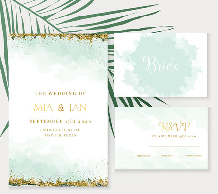 Stylish dusty emerald watercolor and gold glitter vector design cards. Golden art foil frames. Tropical elegant wedding invitations. Splash texture. Boho style. All elements are isolated and editable  イラスト・ベクター素材