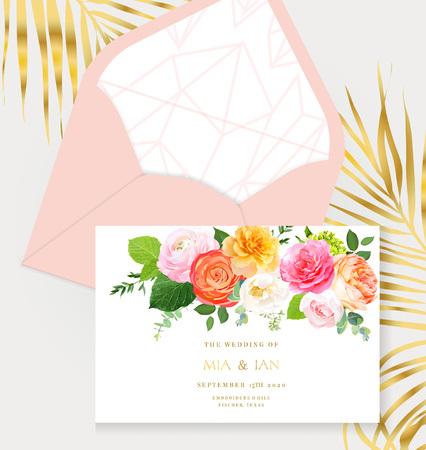 Floral vector design horizontal frame.Pink, yellow, fuchsia rose, orange ranunculus, juliet garden rose, green hydrangea, eucalyptus, greenery. Wedding elegant card. Elements are isolated and editable