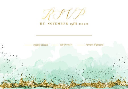 Stylish dusty emerald watercolor and gold glitter vector design card. Golden art foil frame. Tropical elegant wedding invitation. Splash texture. Boho style. All elements are isolated and editable Ilustração