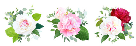 Peony flowers and greenery vector design bridal bouquets. Rustic simple wedding flowers. White, pink and burgundy red garden peonies. Floral border composition .All elements are isolated and editable