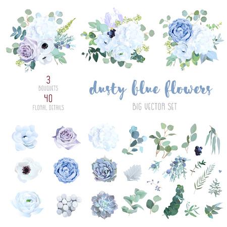 Polvoriento azul, rosa púrpura pálido, hortensia blanca, ranúnculo, iris, echeveria suculentas, flores, vegetación y eucalipto, baya, enebro, conjunto de vectores grandes. Colección de colores pastel de moda. Aislado y editable Ilustración de vector