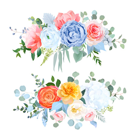 Dusty blue, orange, yellow, coral flowers vector wedding bouquets. Rose, carnation,ranunculus,hydrangea,brunia. Eucalyptus, greeneryBohemian chic style borderAll elements are isolated and editable Illustration