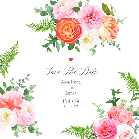 Floral vector design square sides frame.Pink rose, orange ranunculus, juliet garden rose, coral carnation, peony flowers, forest fern, greenery.Wedding elegant card.Elements are isolated and editable