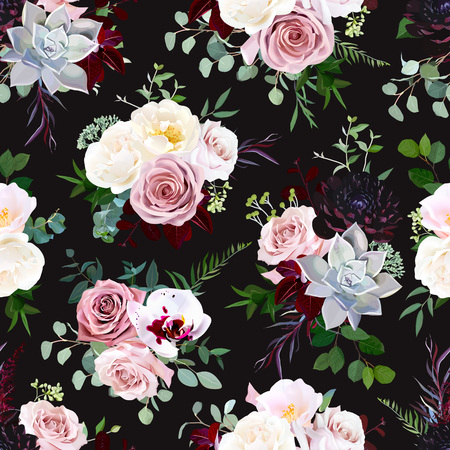 Dark black vector floral pattern. Dusty pink rose, exotic orchid, burgundy dahlia, camellia, echeveria succulent and greenery vector design. Fashion trendy background. Retro boho chic print. Editable