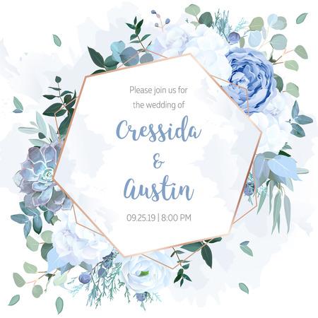 Rose bleu poussiéreux, hortensia blanc, renoncule, eucalyptus, genévrier