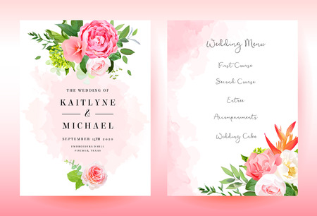 Stylish coral watercolor and flowers vector design cards