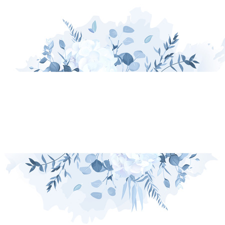 Dusty blue branches, white hydrangea, watercolor splash vector design frame. Flowers and plants. Wedding seasonal card. Floral horizontal azulejo portugal style composition. Isolated and editable