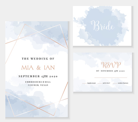 Stylish dusty blue and gold geometric vector design cards. Vector Illustration