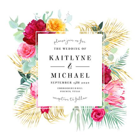 Tropical bright wedding vector design frame  イラスト・ベクター素材