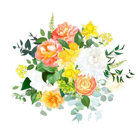Gelbe Narzissen, orangefarbener Ranunkel, Korallenrose, weiße Hortensie und Chrysantheme, Gartenblumen, Eukalyptus, grünes Vektorbouquet. Lebende Koralle 2019 trendige Farbe. Elemente sind isoliert. Vektorgrafik