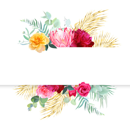 Tropical bright wedding vector design horizontal frame. Pink protea, burgundy red peony, yellow rose, exotic leaves, palm greenery, pampas grass. Island bunch of flowers card. Isolated and editable