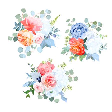 Staubige blaue, orange, weiße, korallenrote, rosa Blumenvektorhochzeitssträuße. Rose, Nelke, Ranunkel, Hortensie. Eukalyptus wacholdergreenery Bohemian Chic Style Grenze Isoliert und editierbar