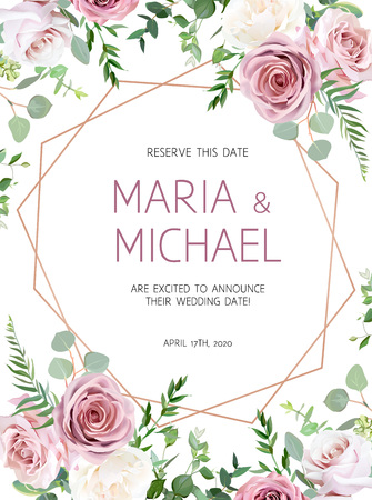 Dusty pink, creamy white antique rose, eucalyptus, pale flowers, greenery vector design wedding frame with pink geometric gold line art. Floral pastel watercolor style card. Isolated and editable.