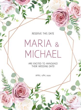 Zakurzony różowy, kremowy biały antyczny róż, eukaliptus, blade kwiaty, zieleń wektor projekt wesele rama z różową geometryczną sztuką złota. Karta kwiatowy pastelowy styl akwarela. Izolowane i edytowalne.