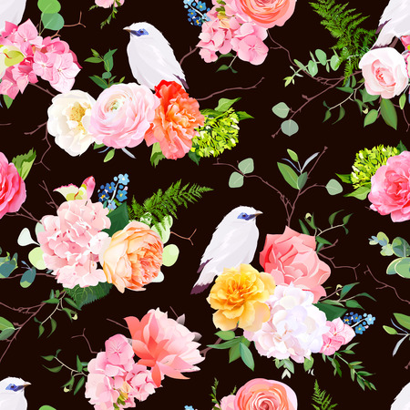 Dark vector seamless watercolor pattern with white bali starling bird and bouquets of peachy and yellow roses, ranunculus, coral carnation, pink and white hydrangea, eucalyptus, greenery. Editable.