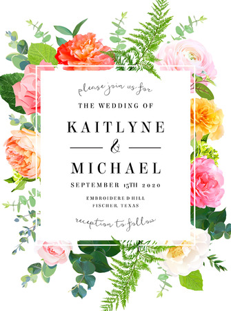Floral vector design square vertical frame.Pink and yellow rose, ranunculus, juliet garden rose, coral carnation flowers, forest fern, greenery.Wedding elegant card.Elements are isolated and editable Vetores