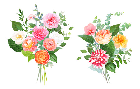 Floral vector design bouquets. Pink, yellow, fuchsia rose, orange ranunculus, garden rose, striped dahlia, coral flowers, peony, greenery. Wedding elegant bunch Elements are isolated and editable