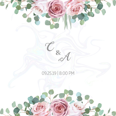 Floral vector design frame. Eucalyptus, pale pink roses, leaves and herbs. Natural banner card. Greenery wedding elegant invitation. Marble textured backdrop. Watercolor style. Isolated and editable