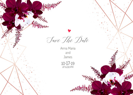 Marsala colored dark and white orchid, burgundy red astilbe vector design fall frame. Pink gold polygonal line art with shimmer. Geometric card. Autumn chic wedding invitation. Isolated and editable. Ilustração Vetorial