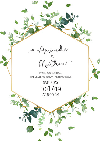 Herbal minimalist vertical vector frame. Hand painted plants, branches, leaves on white background. Greenery wedding invitation. Watercolor style. Gold line art. All elements are isolated and editable Illustration
