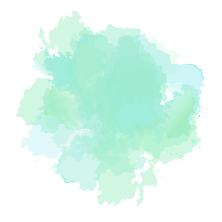 Emerald green, mint, dusty blue sage watercolor vector splash. Background hand-drawn texture. Painted spot. Elegant decoration detail. Watercolour pastel drawing. All layers are isolated and editable.
