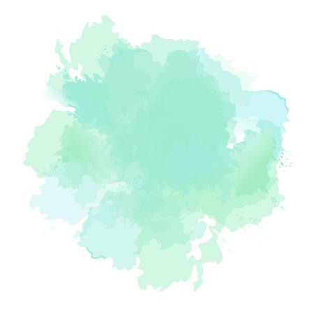 Szmaragdowo zielony, miętowy, zakurzony niebieski szałwia akwarela wektor splash. Ręcznie rysowane tekstury tła. Malowane miejsce. Elegancki detal dekoracji. Akwarela pastelowy rysunek. Wszystkie warstwy są izolowane i edytowalne. Ilustracje wektorowe