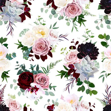Dark flowers vector floral pattern. Dusty pink rose, exotic orchid, burgundy dahlia, camellia, echeveria succulent and greenery vector design. Fashion trendy background. Retro boho chic print. Editable