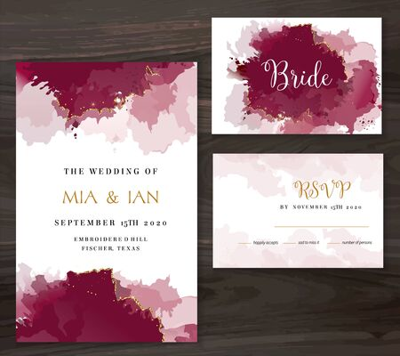 Stylish burgundy red watercolor and gold glitter vector design card