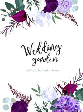 Elegante marco de boda de diseño vectorial de flores oscuras estacionales. Rosa púrpura y violeta, hortensias blancas y azul profundo, astilbe, anthurium, iris, eucalipto. Borde de estilo floral Todos los elementos están aislados. Ilustración de vector