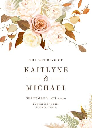 Moody boho chic vector design wedding frame