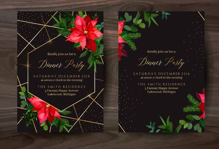 Christmas red poinsettia, eucalyptus, fir branch, barberry vector design winter frames on black.Gold polygonal line art with glitter. Geometric cards. Party invitations. Isolated and editable Illustration