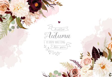 Moody boho chic wedding vector design frame. Warm fall and winter tones. Orange, taupe, burgundy, brown, cream, gold, beige, sepia autumn colors. Rose flowers, protea,ranunculus, dahlia pampas grass