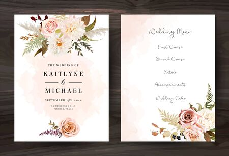 Moody boho chic wedding vector bouquet cards. Warm fall and winter tones. Orange red, taupe, burgundy, brown, cream, gold, beige, sepia autumn colors. Rose flowers, dahlia, ranunculus, pampas grass Vector Illustration