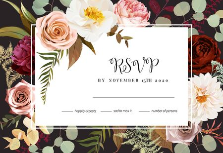 Horizontal dark rsvp frame card with leaves and flowers. Rust orange rose, dahlia, peony, ranunculus, burgundy astilbe, autumn fern, eucalyptus vector design. Masterpiece style.  Isolated and editable Illustration